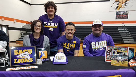 Corey Anzaldua signed on National Signing Day with Southwestern Assemblies of God University [SAGU]